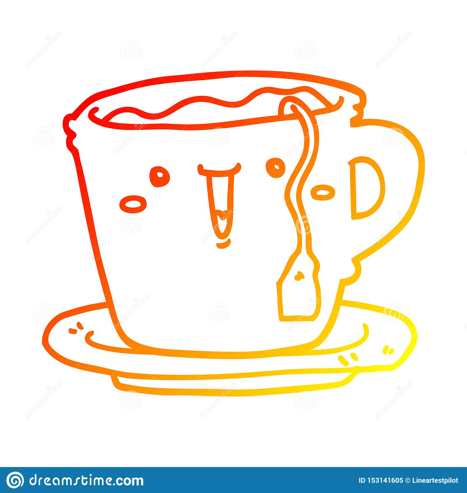 Cute Cartoon Warm Line Gradient Spectrum Drawing Illustration Retro Doodle Freehand Free Hand Drawn Quirky Art Artwork Funny Character Cup Saucer Tea Coffee Face Stock Illustrations 2 Cute Cartoon Warm Line