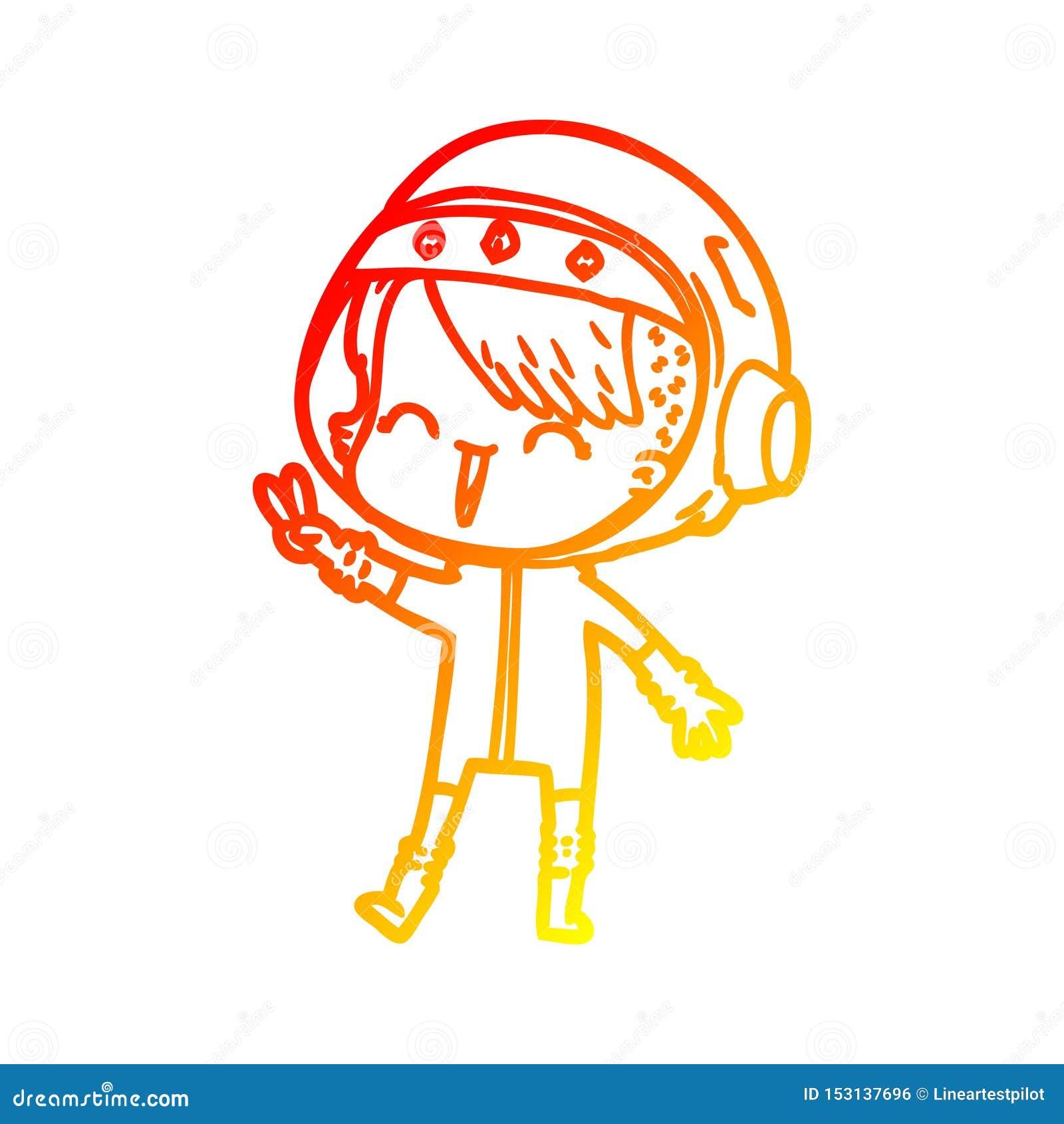 A Creative Warm Gradient Line Drawing Happy Cartoon Space Girl