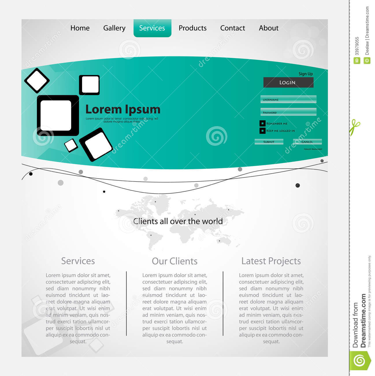 Map Design Website Template: Creative Web Template With Map. Stock Vector