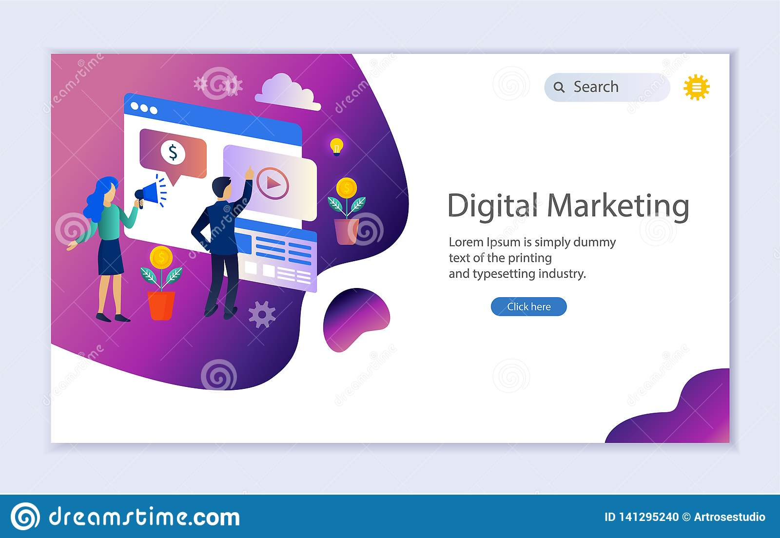 creative website template of web page for digital marketing stock vector illustration of banking company 141295240 dreamstime com