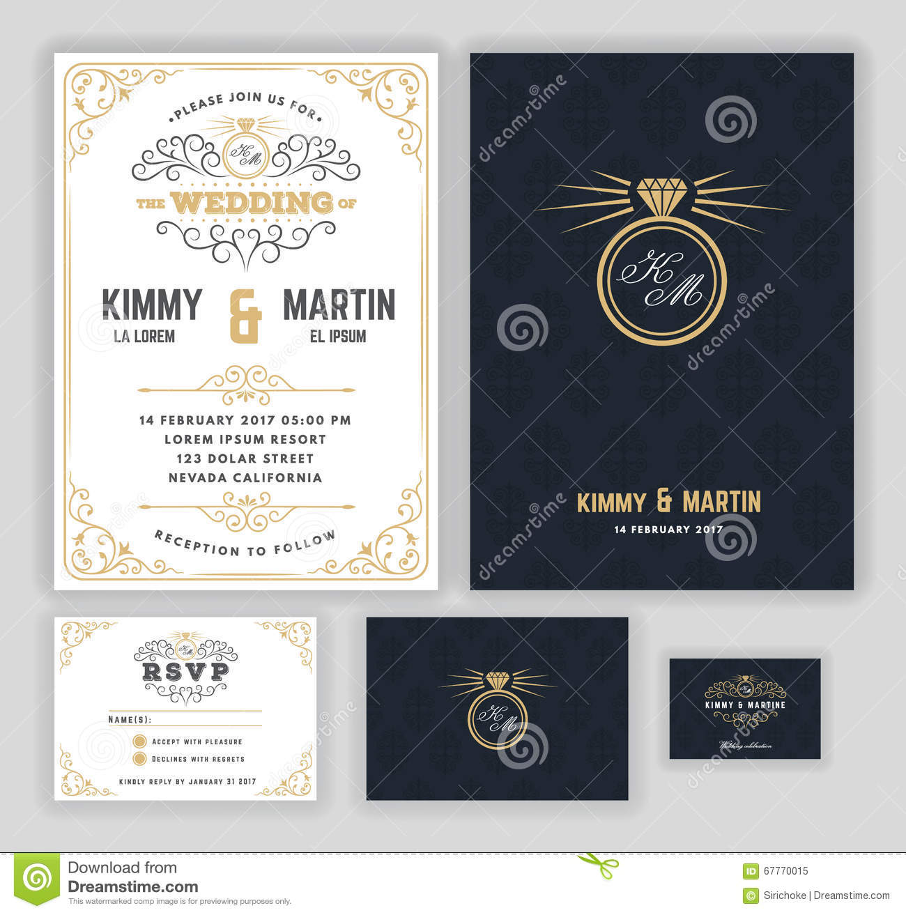 creative wedding invitations with flourish and twirls design stock