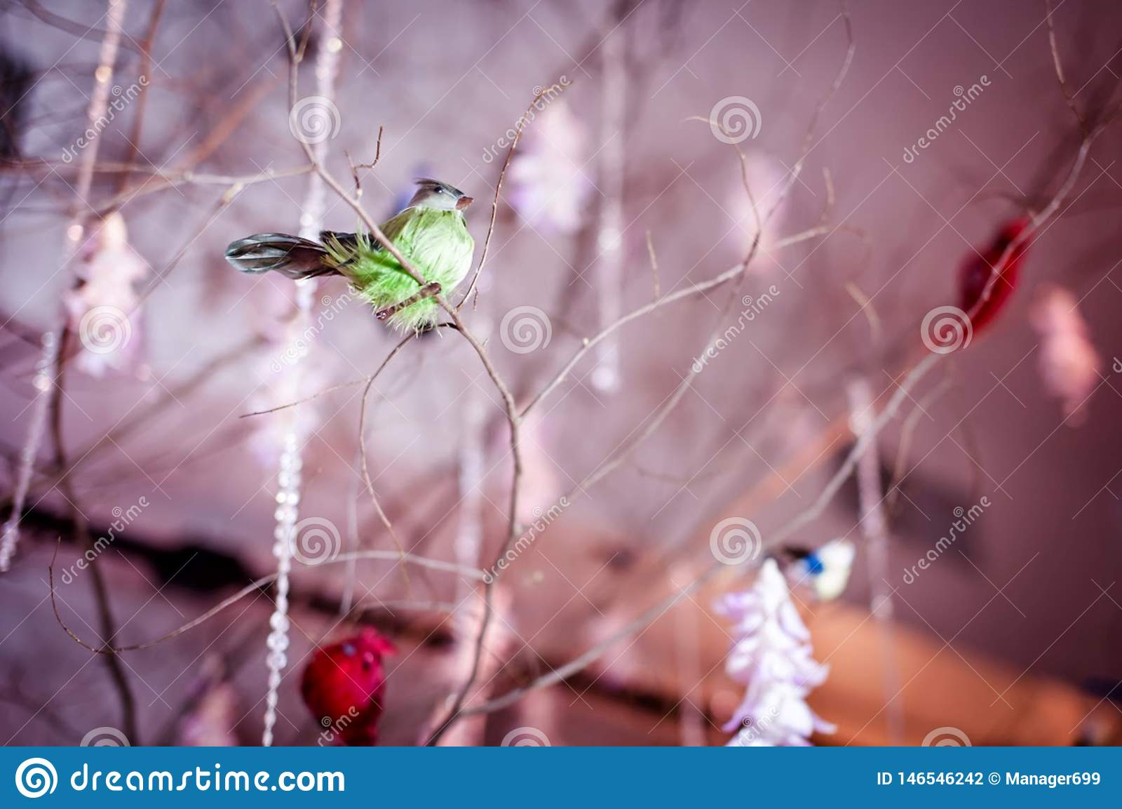 Creative Wedding Venue Decorations with Birds Siting On The Tree.