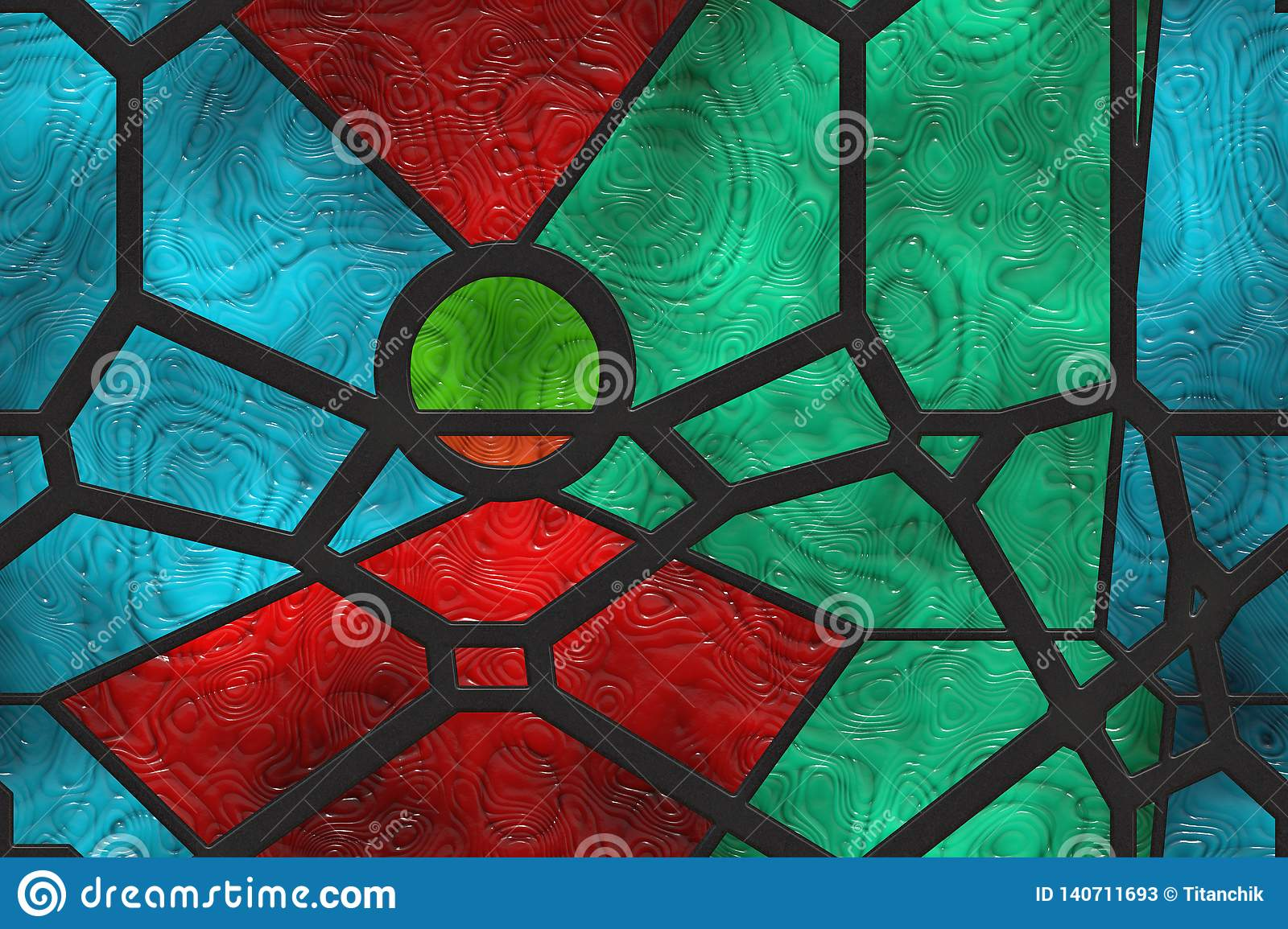 Creative Window Stained Glass Wall Metal Grate Stock