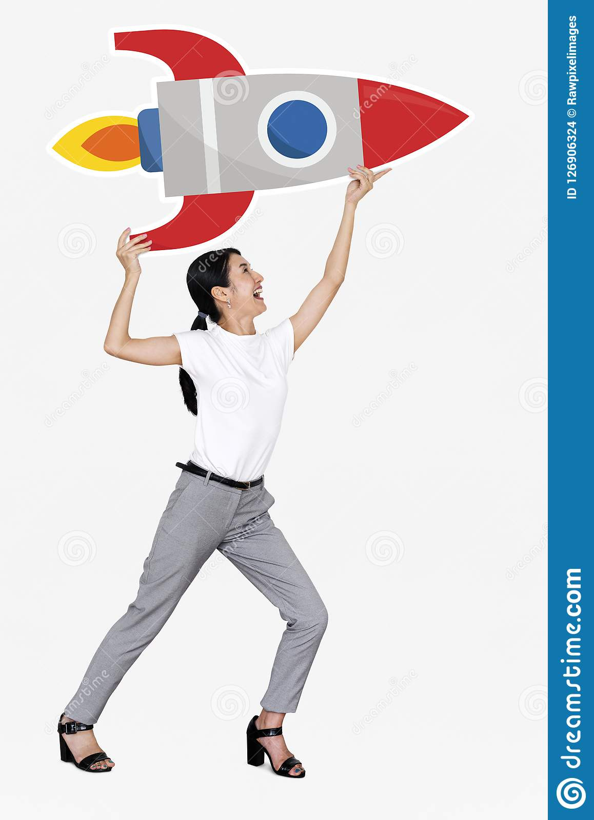 Creative woman with a launching rocket symbol