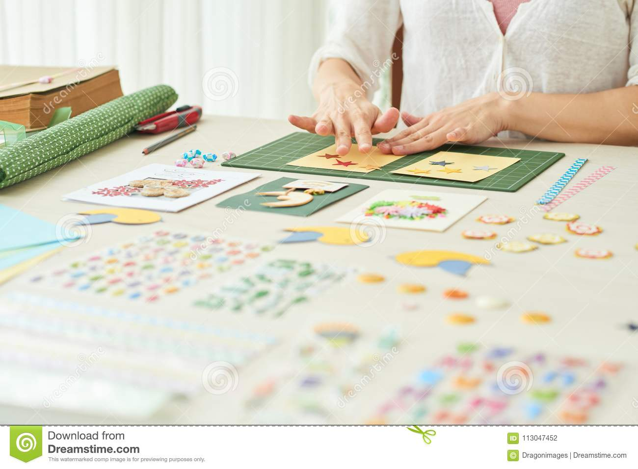 Creative Woman Making Greeting Card Stock Photo Image Of Home