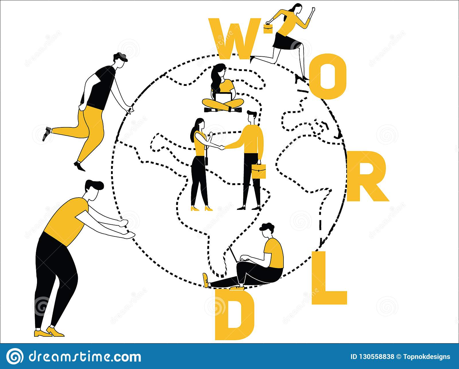 Creative Word concept World and People doing things