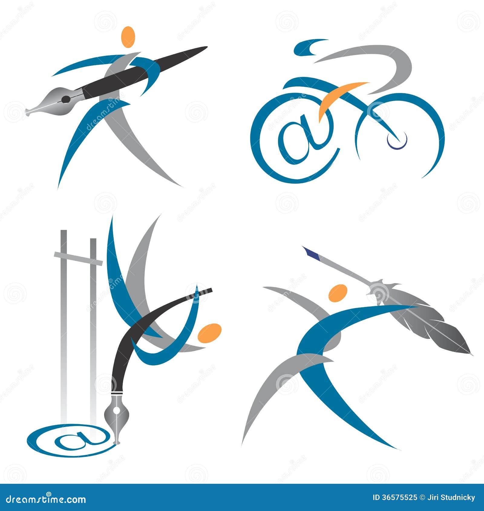 Creative Writer Icons Stock Vector Illustration Of Cartoon 36575525