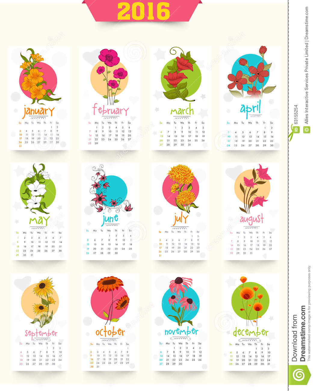 Yearly Calendar Design : Creative yearly calendar for new year celebration