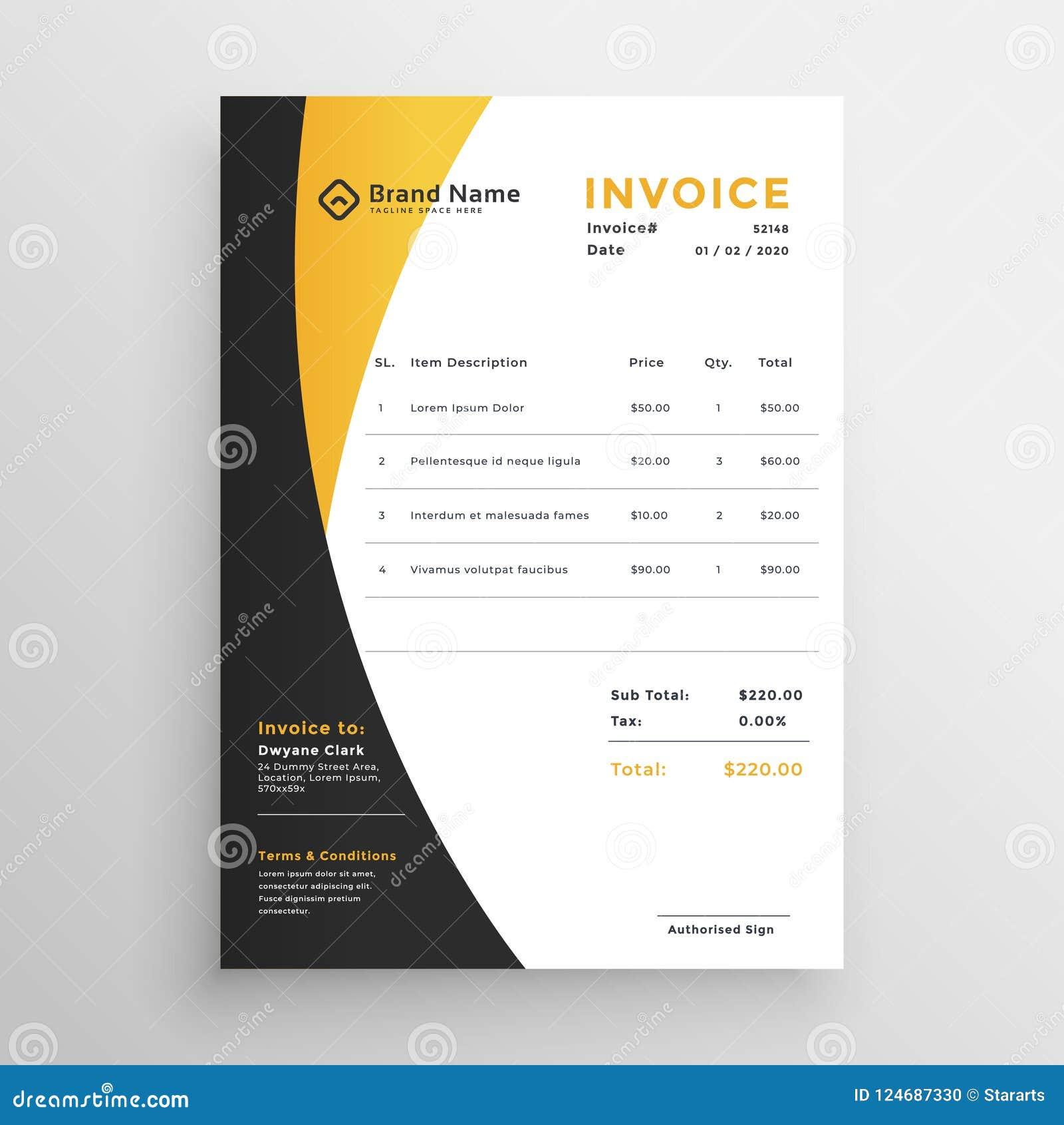Creative yellow modern invoice template