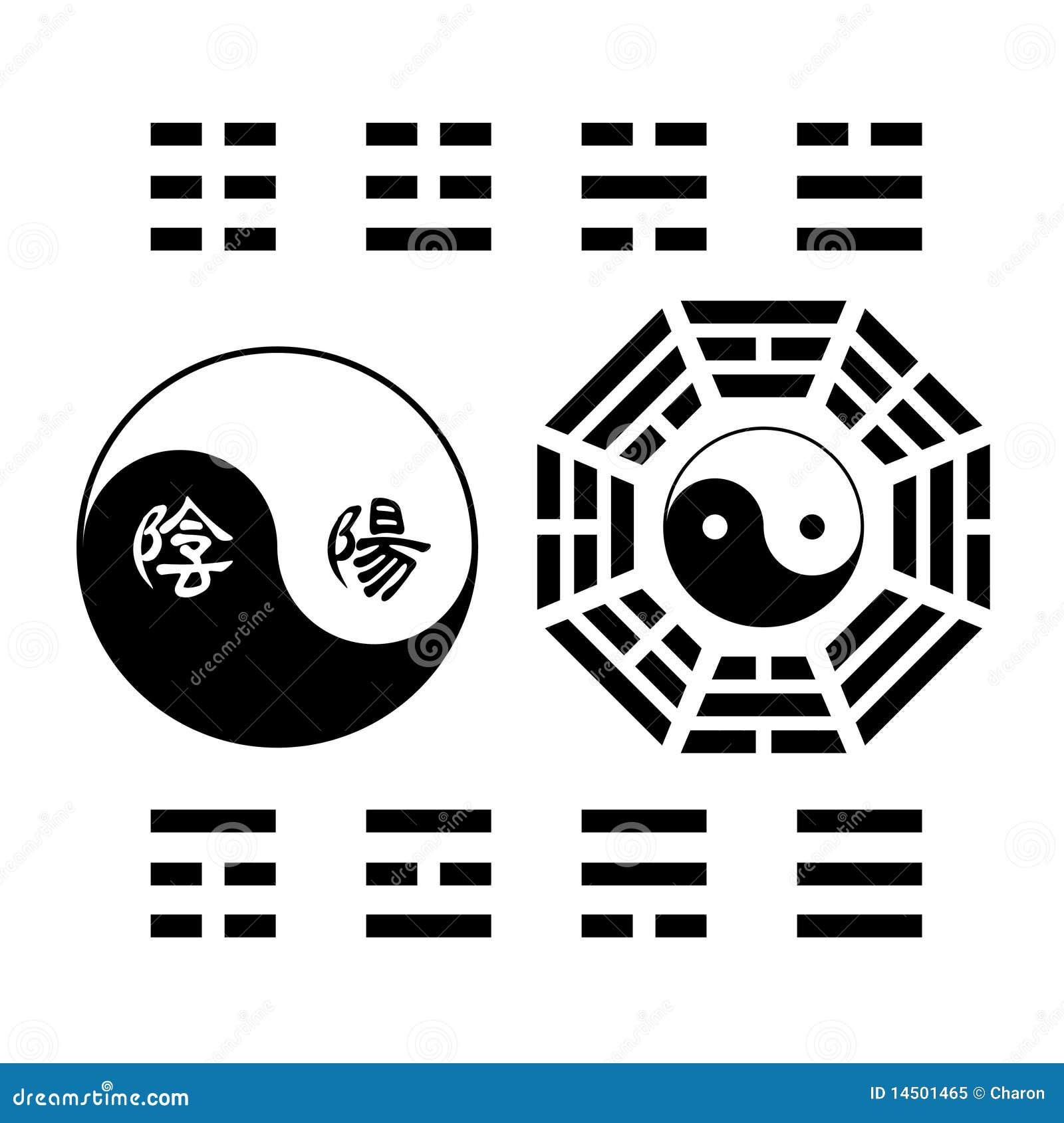 Creative Yin Yang Symbol Trigram Sign Stock Vector Illustration Of