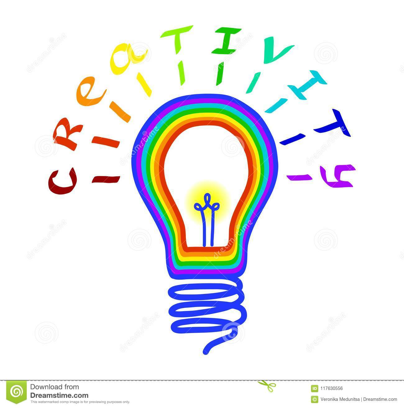 Creativity concept. Light bulb logo with lettering. Concept or creative thinking and unique ideas. Vector illustration.