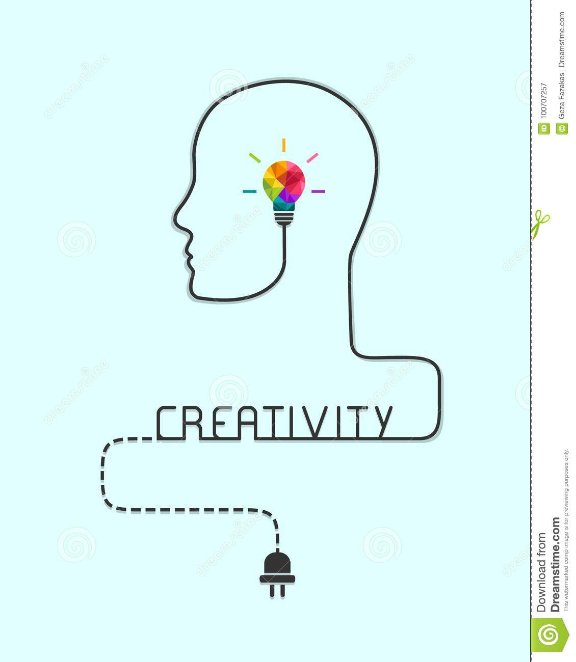 Creativity And Imagination Concept With Colorful Lightbulb Stock