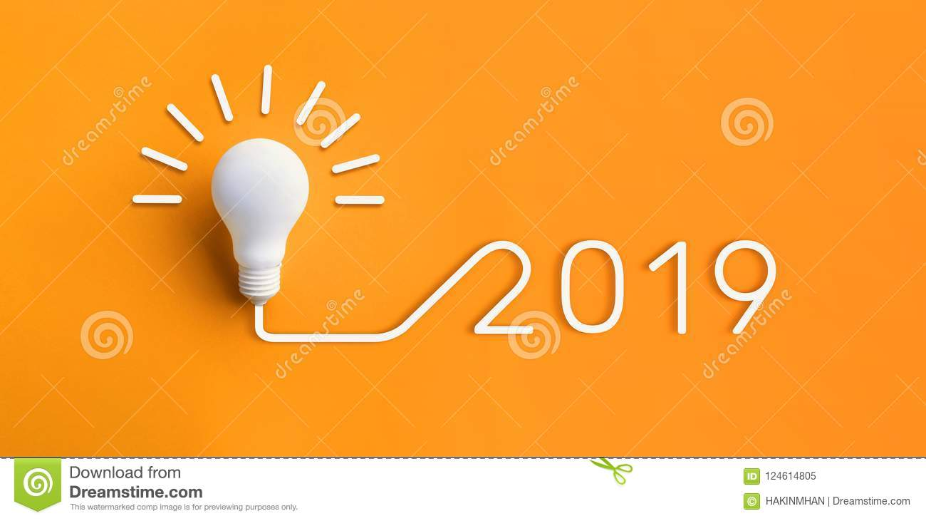 2019 creativity inspiration concepts with lightbulb on pastel