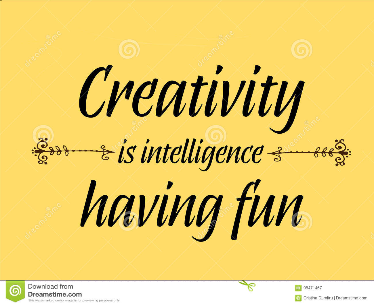 Creativity Is Intelligence Having Fun Quotes Stock Vector