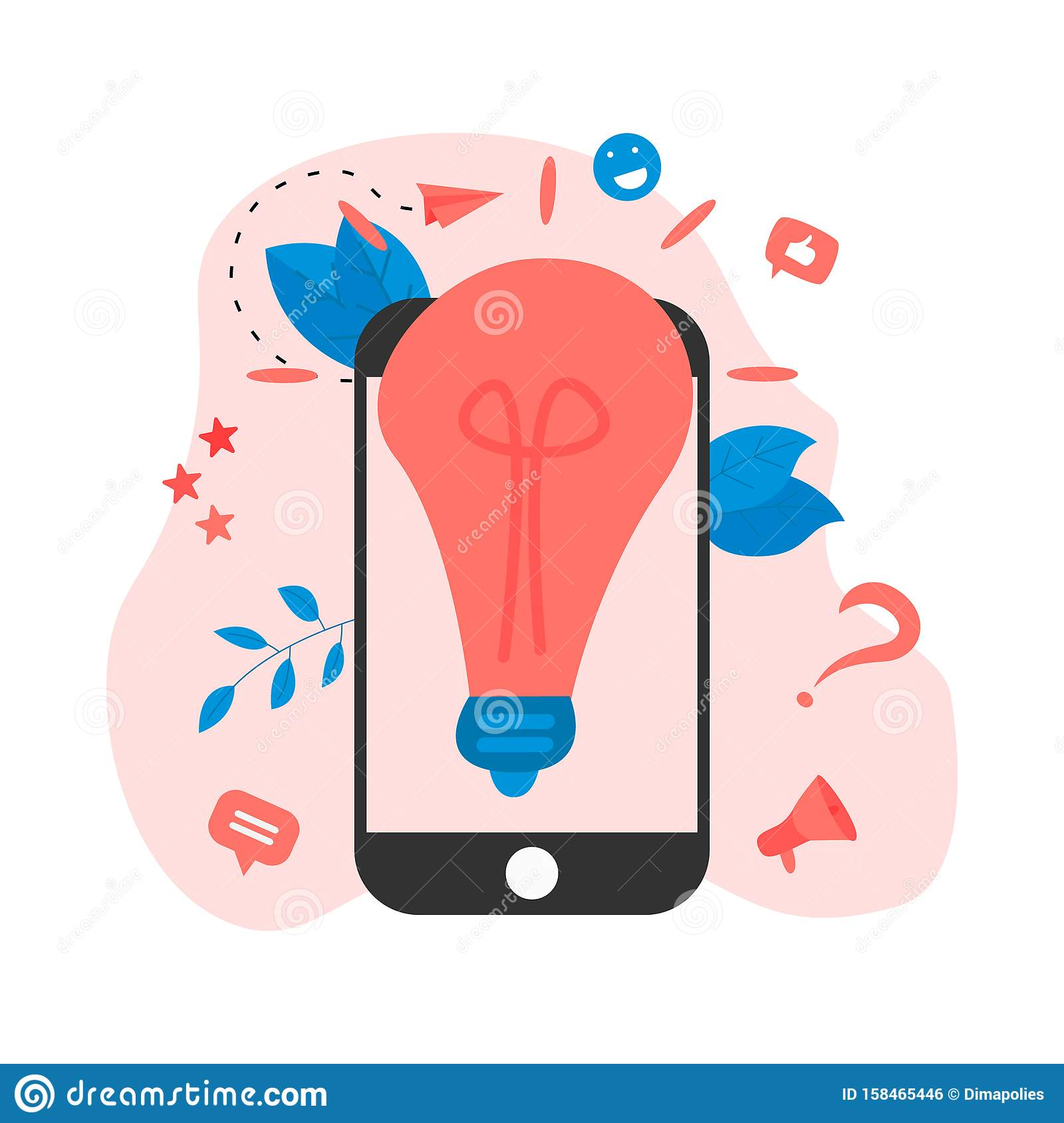 Creativity online business idea concepts with big bulb. Vector illustration