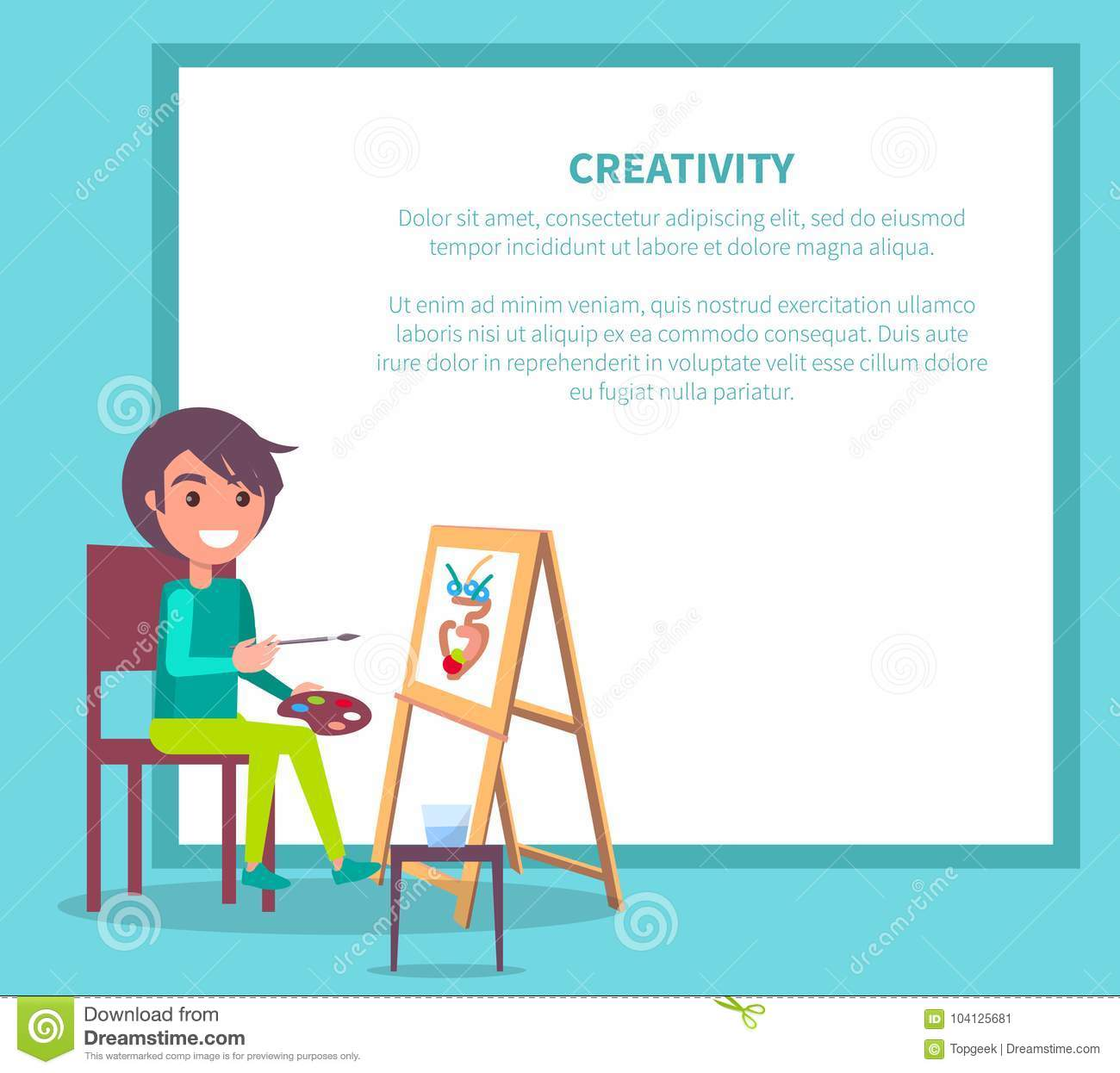 creativity poster with girl drawing vase vector stock vector