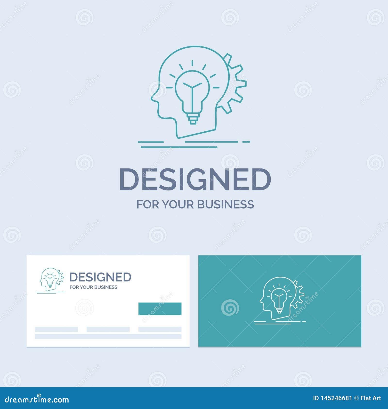 Creativo, creatività, testa, idea, affare di pensiero Logo Line Icon Symbol per il vostro affare Biglietti da visita del turchese