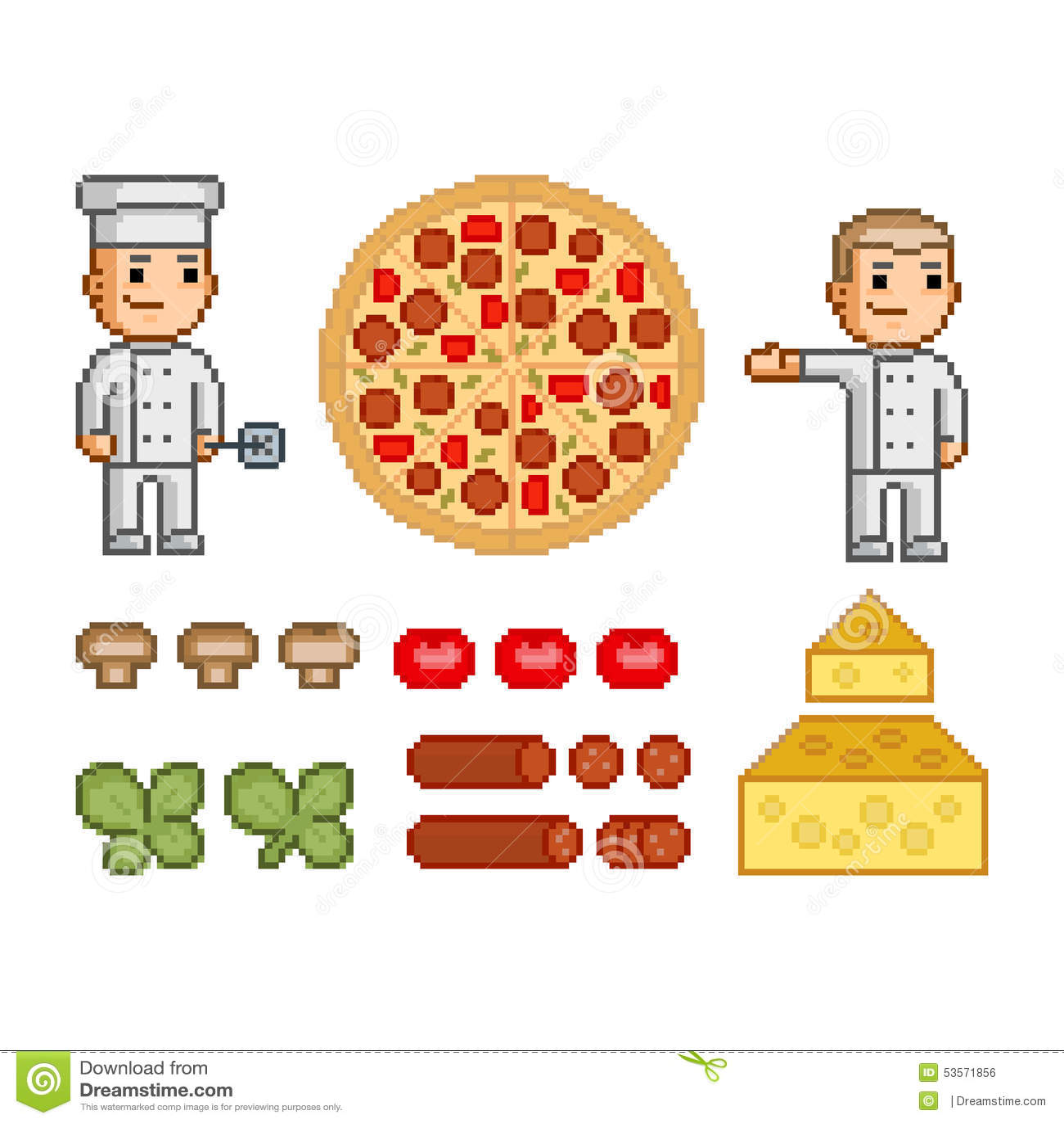 Creatore della pizza, pizza ed ingredienti