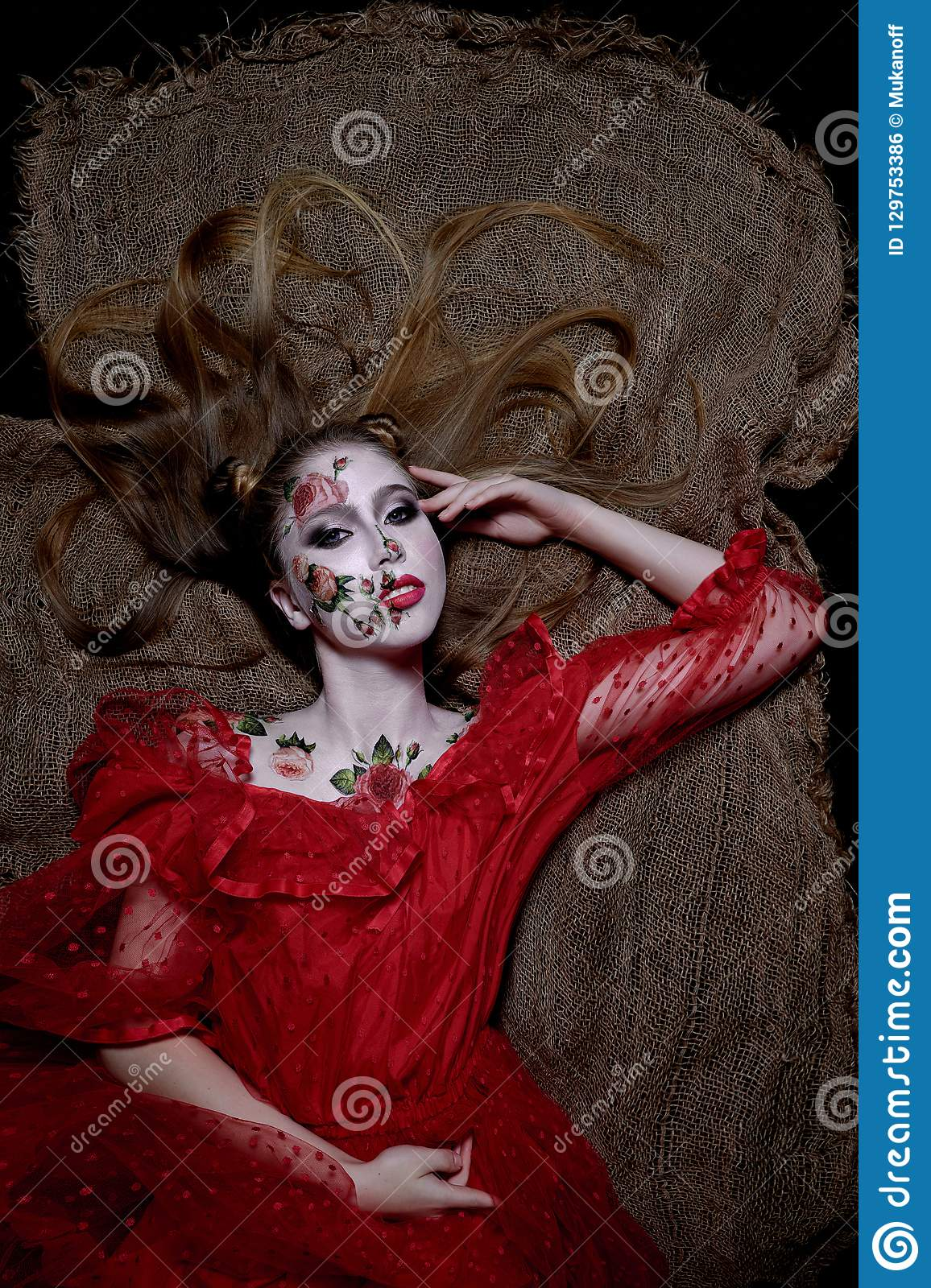 Creatyve Bodyart Red Rose On Girl Skin In Red Dress Stock Photo Image Of Mexico Beauty 129753386
