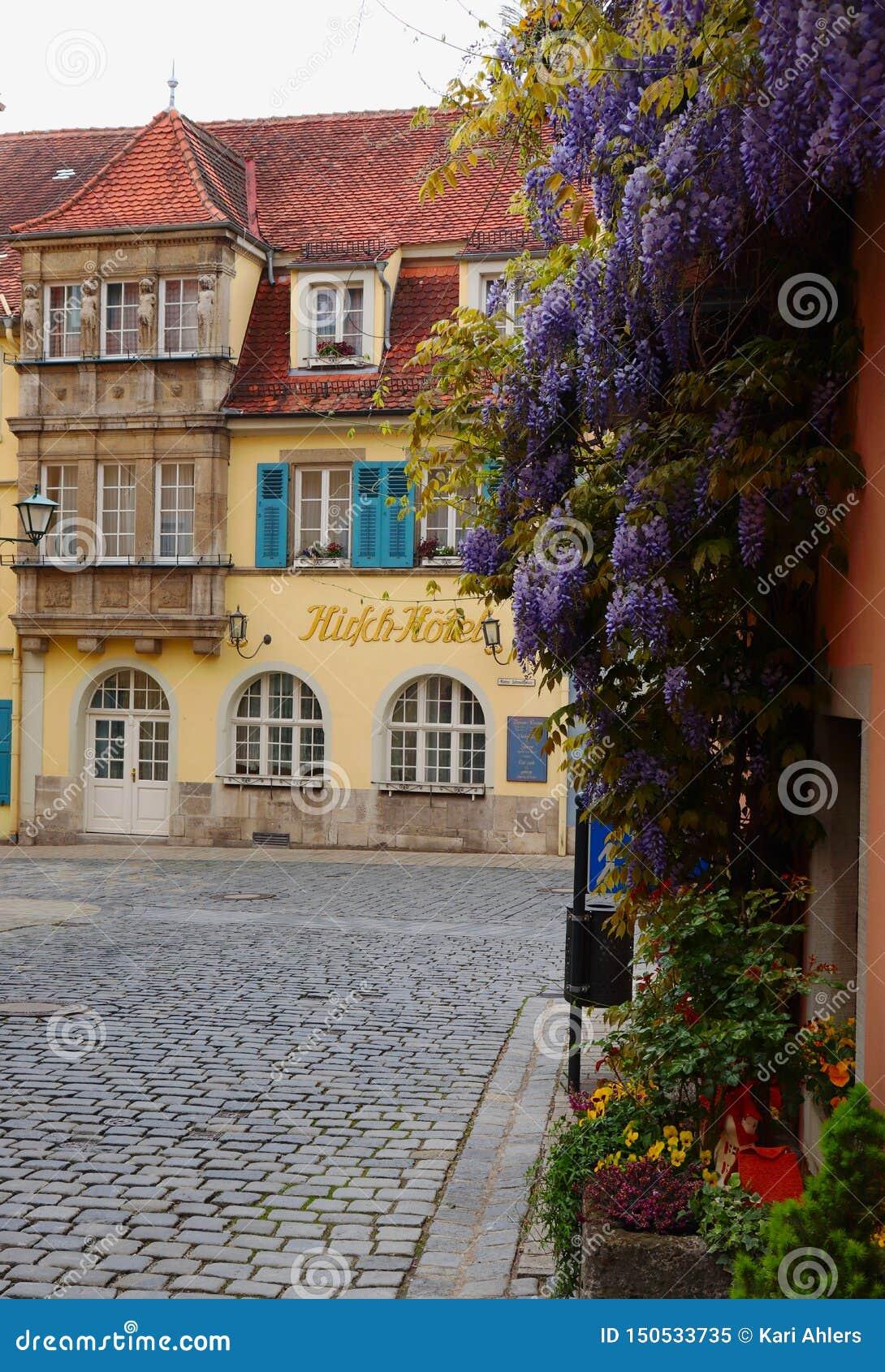 Crecimiento de flores en un edificio en el der Tauber, Germanu del ob de Rothenburg