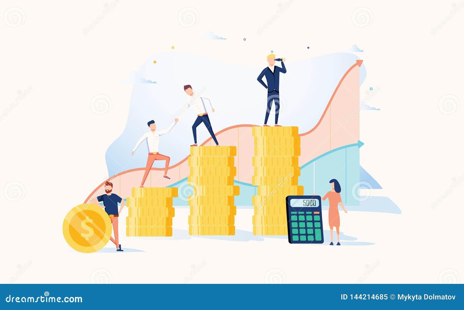 Crecimiento de la carrera al éxito Hombres de negocios Ilustración del vector Concepto del logro Promoción financiera de la rique