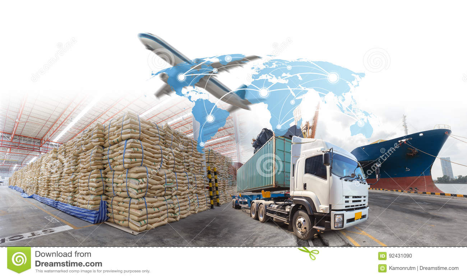 Crecimiento y progreso del negocio para las importaciones/exportaciones de la logística