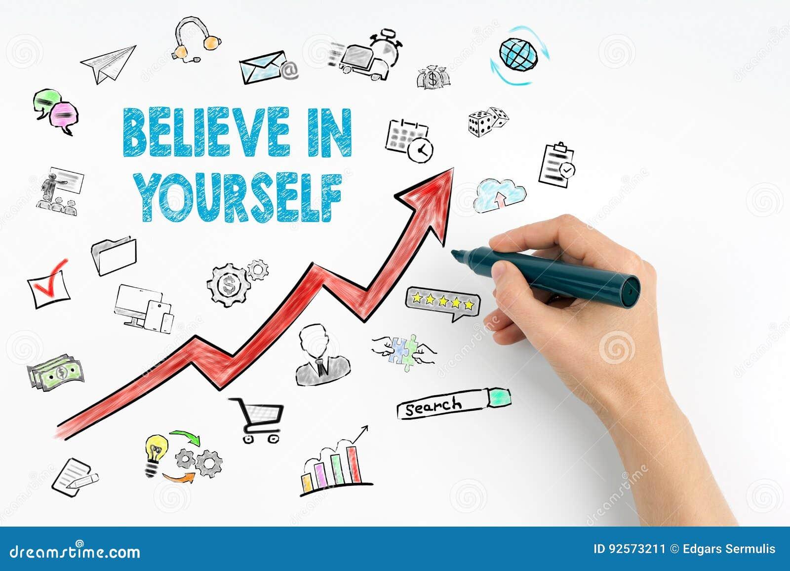 Credi in voi stesso il concetto Mano con scrittura dell indicatore