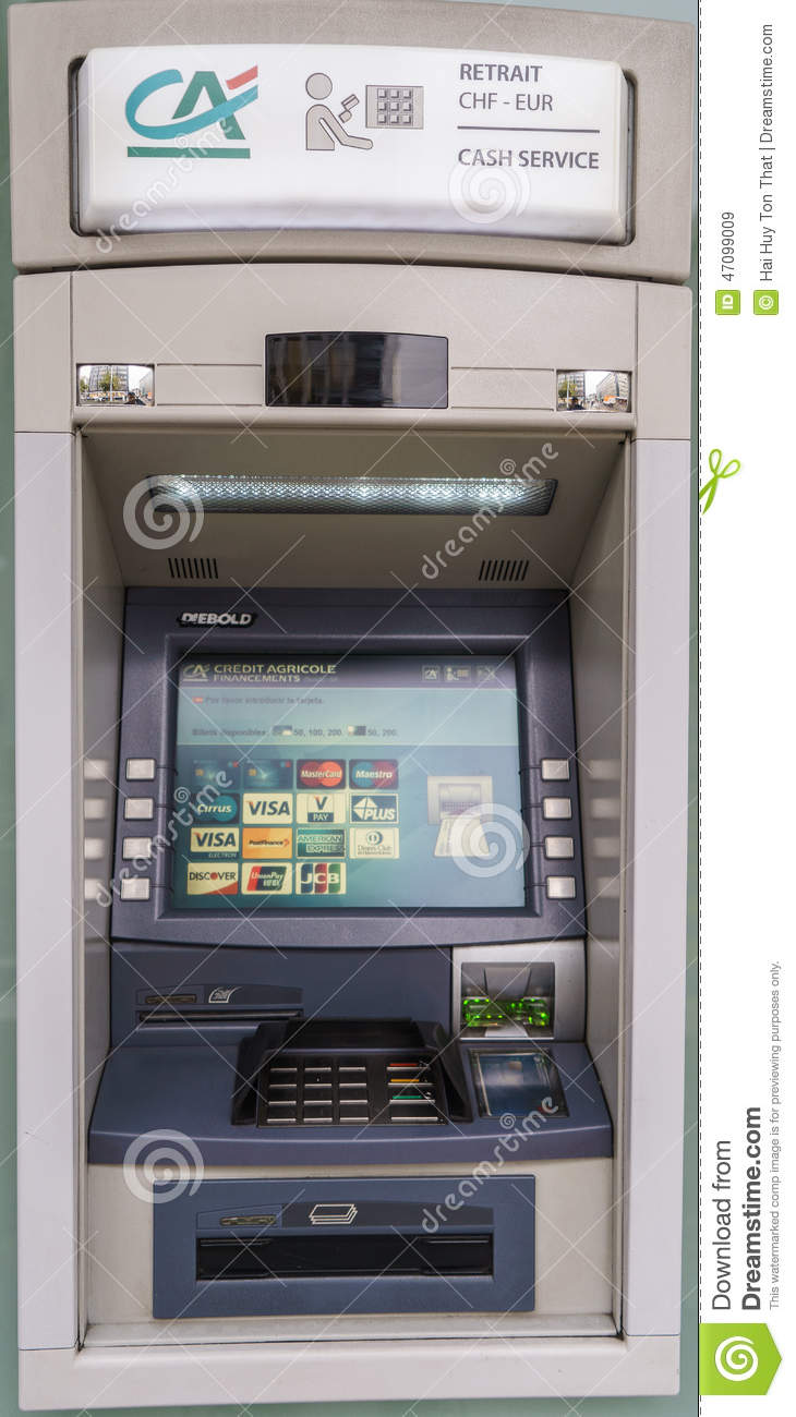 credit agricole atm machine editorial stock image