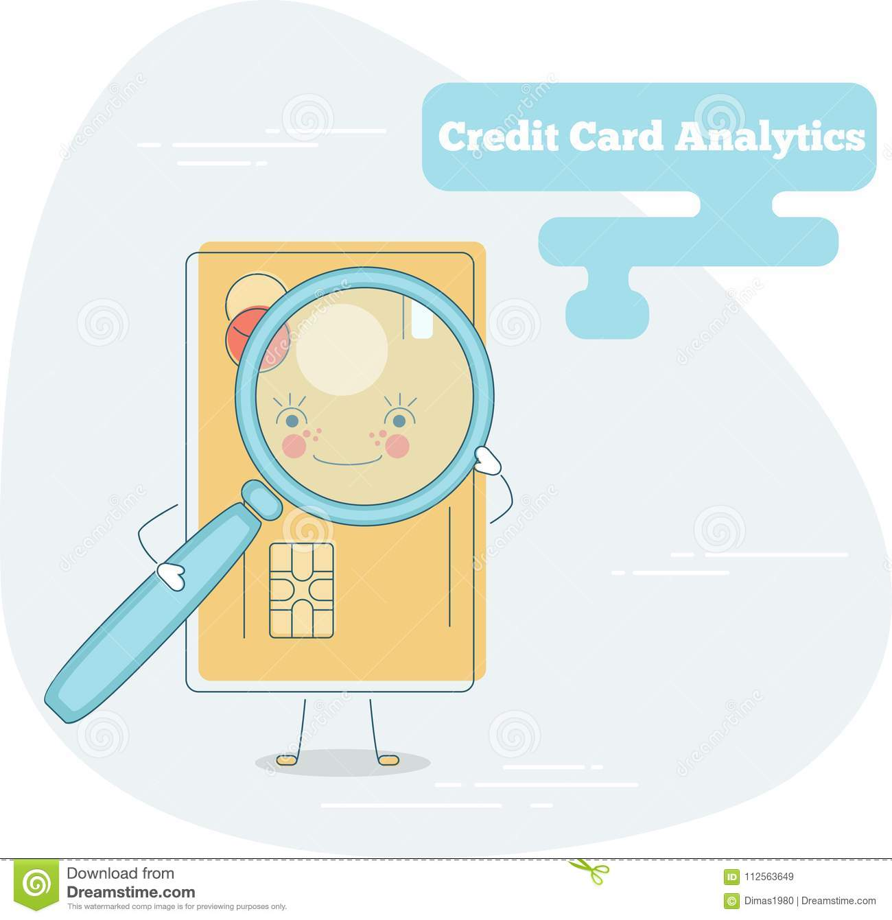 Credit Card Analytics Concept In Line Art Style Stock