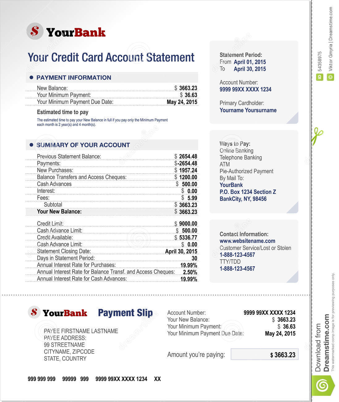 credit card bank account statement template royalty free vector