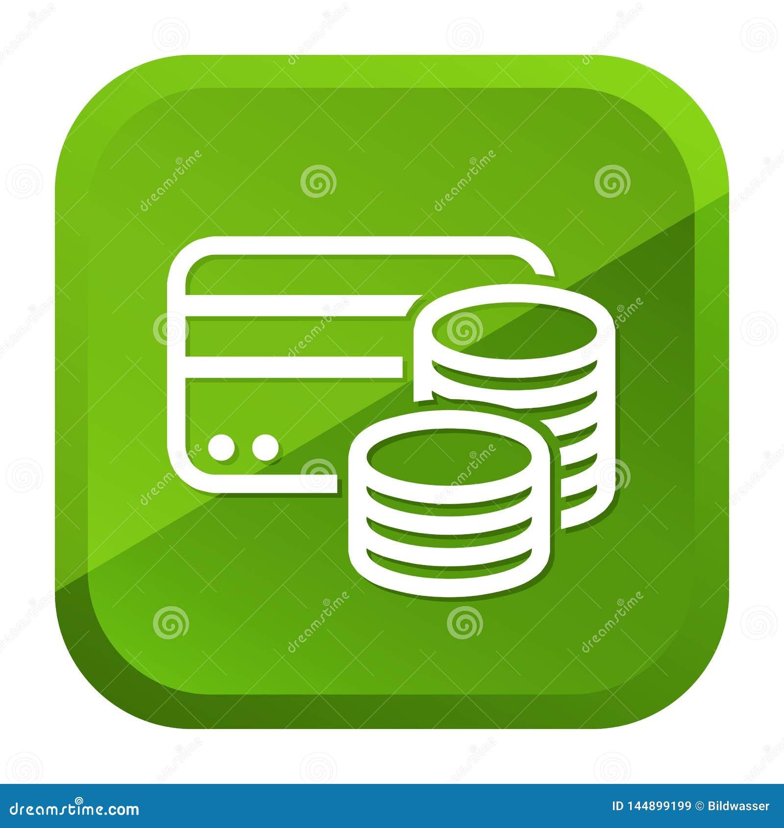 Credit Card Cash Coins Icon. Green Button. Eps10 Vector