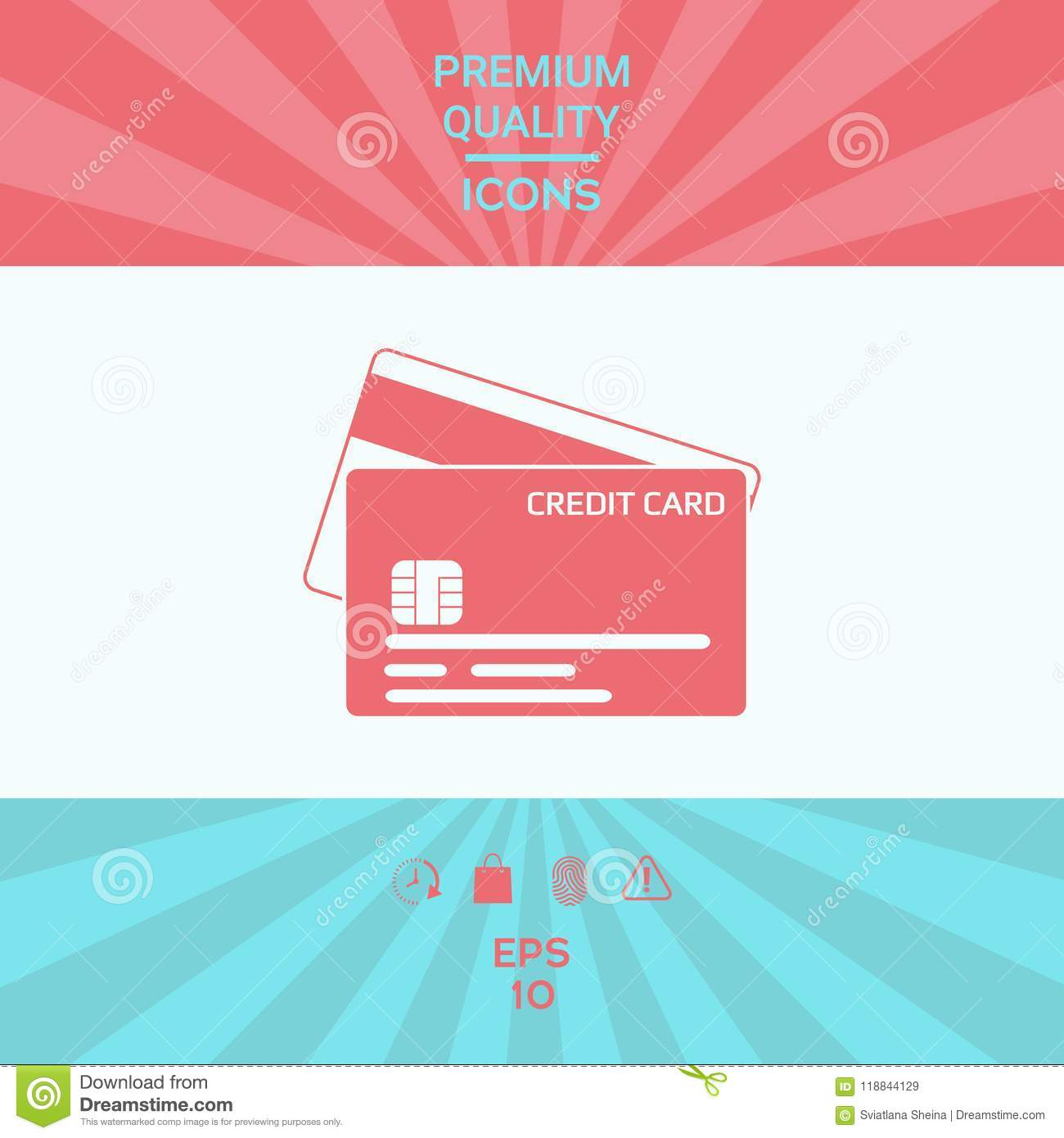 Credit Card With A Chip And Magnetic Stripe - Icon Stock