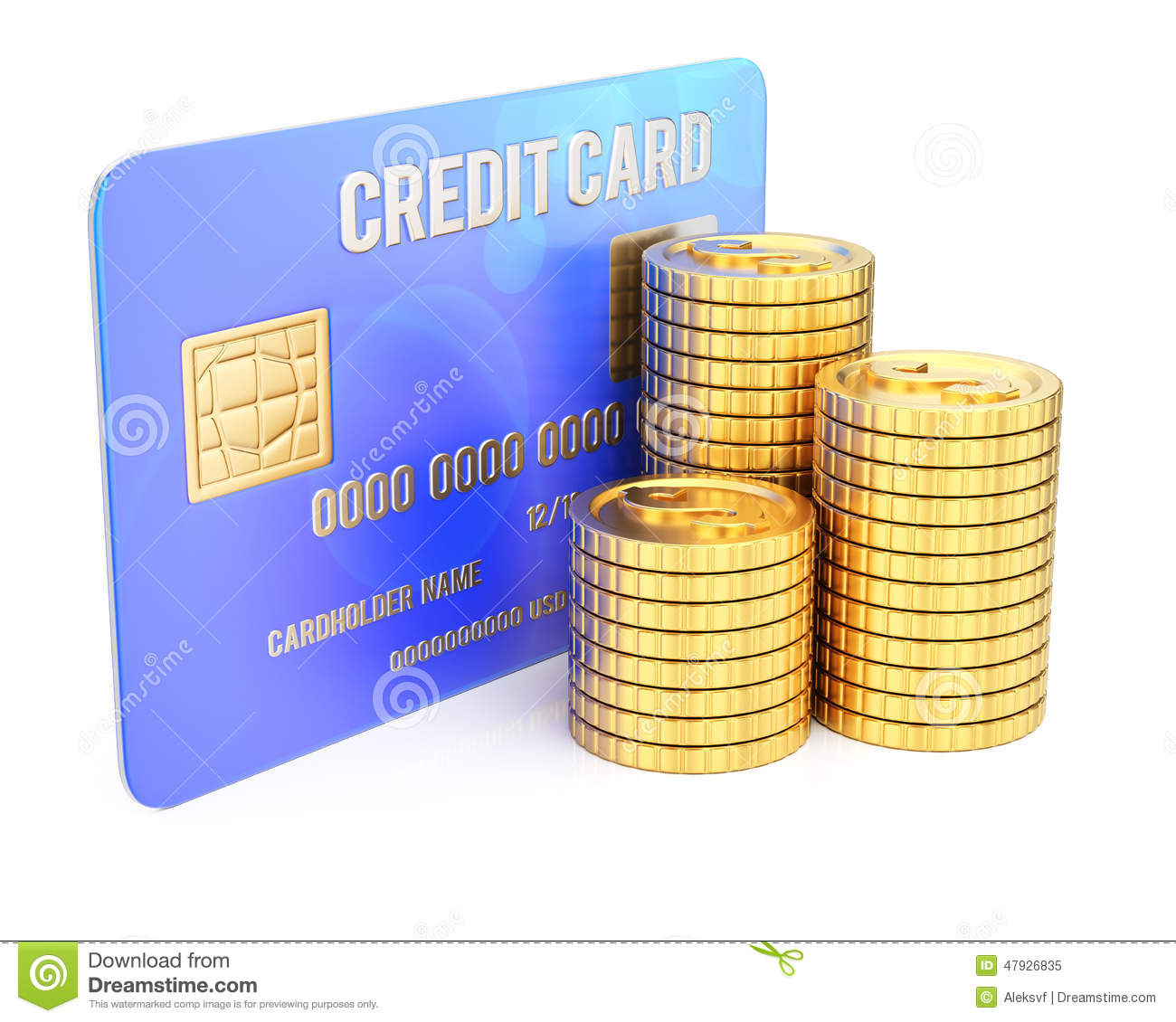 Credit Coin: Credit Card Coins On White, 3d Render Royalty-Free Stock