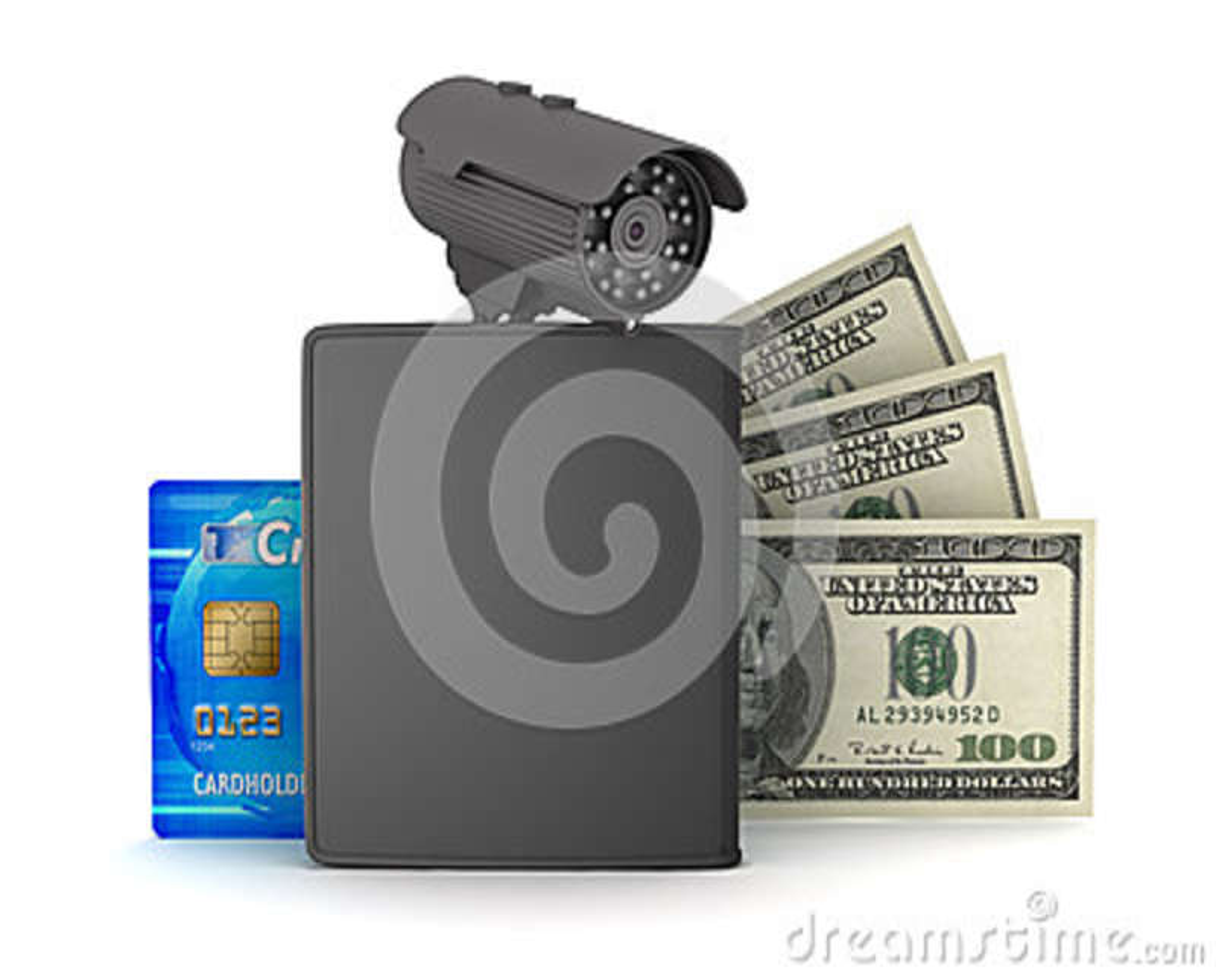 Credit card, dollar bills, wallet and monitoring camera