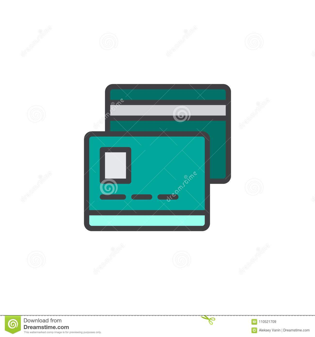Credit Card Filled Outline Icon Stock Vector - Illustration