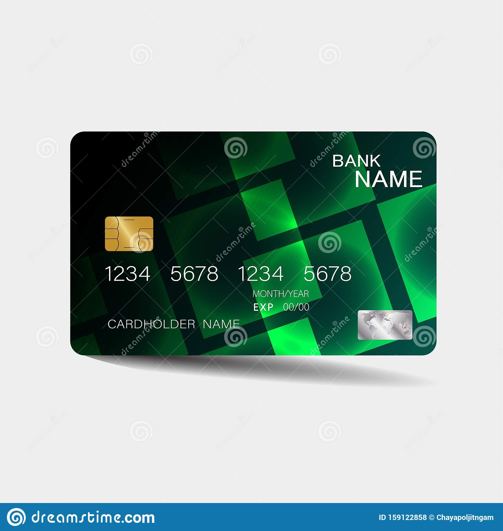 Credit card. With green elements design. And inspiration from abstract.