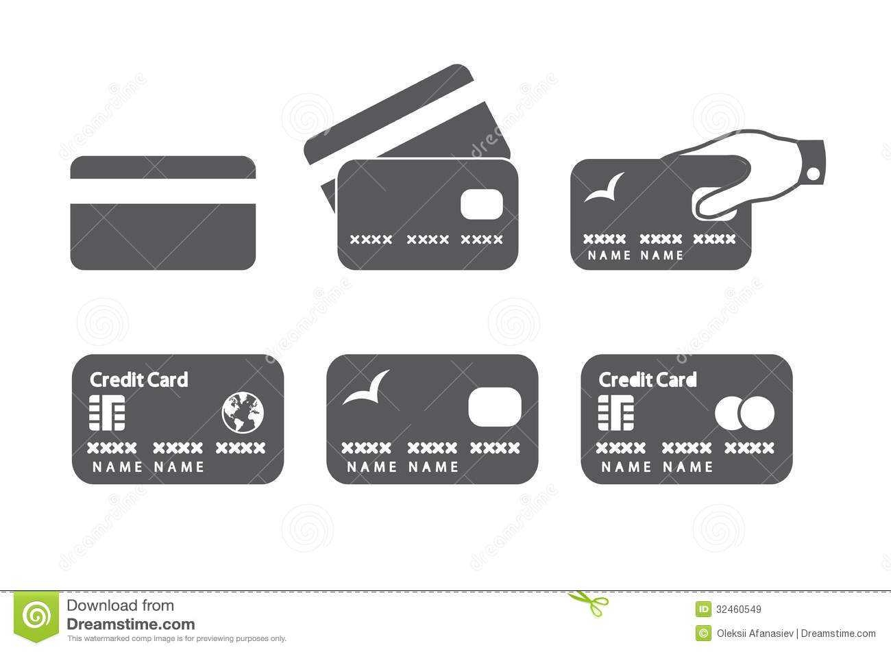 credit card icons stock vector illustration of identity 32460549