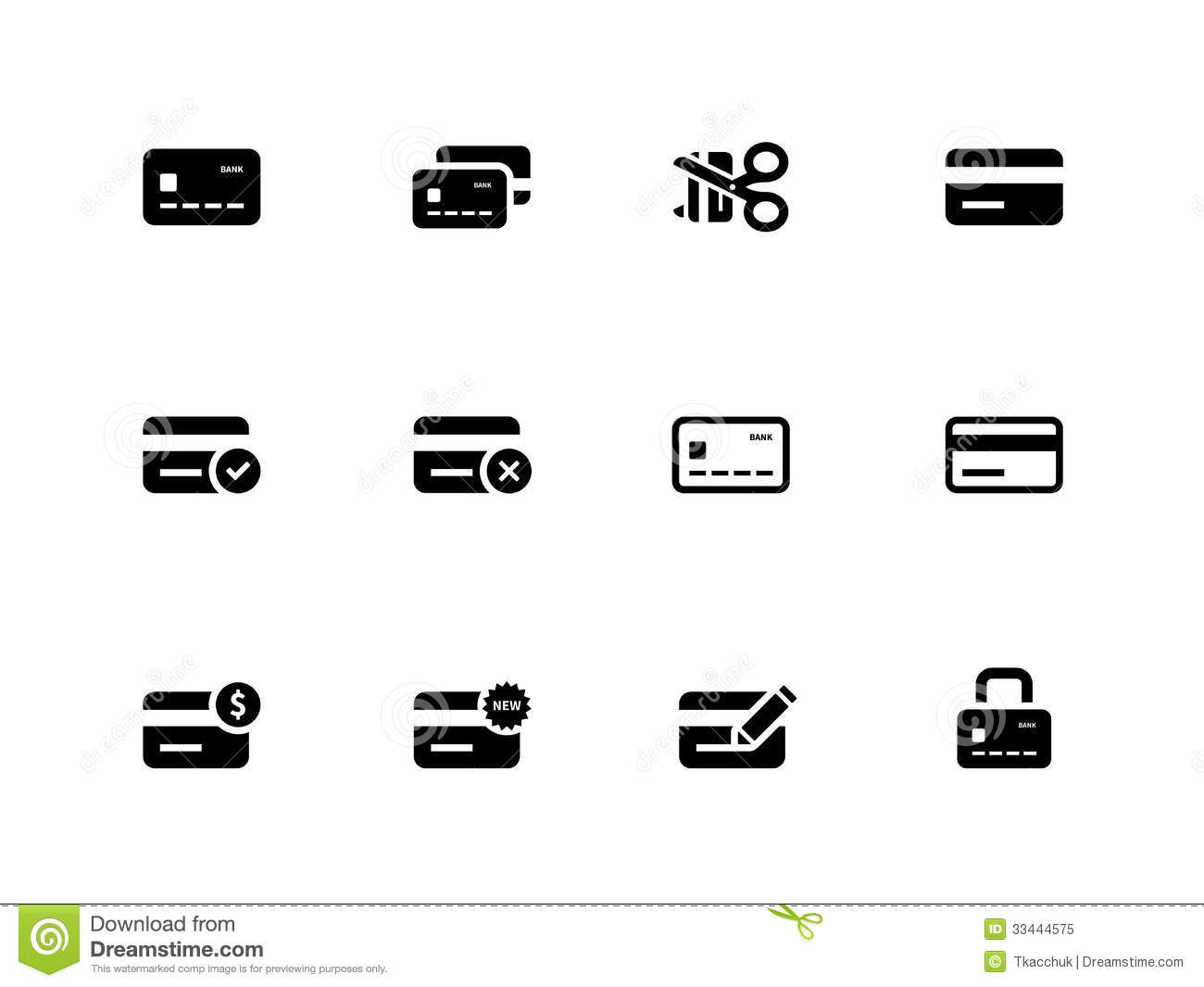 credit card icons on white background stock vector illustration