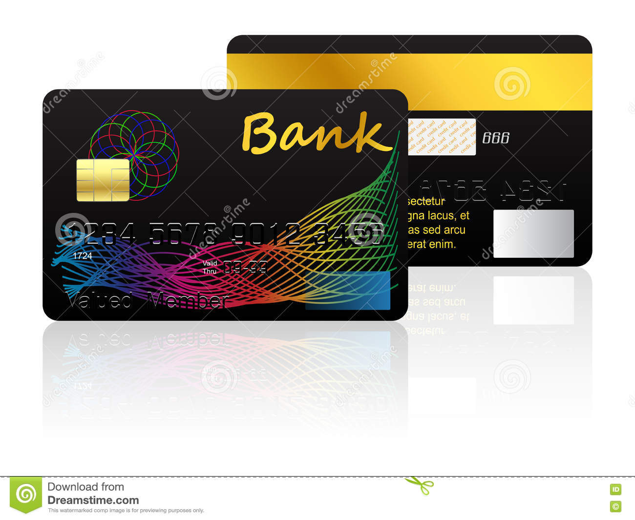 credit card isolated on white background stock vector