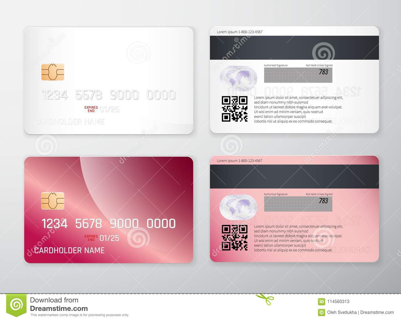 Credit Card Mockup Realistic Detailed Credit Cards Set Abstract