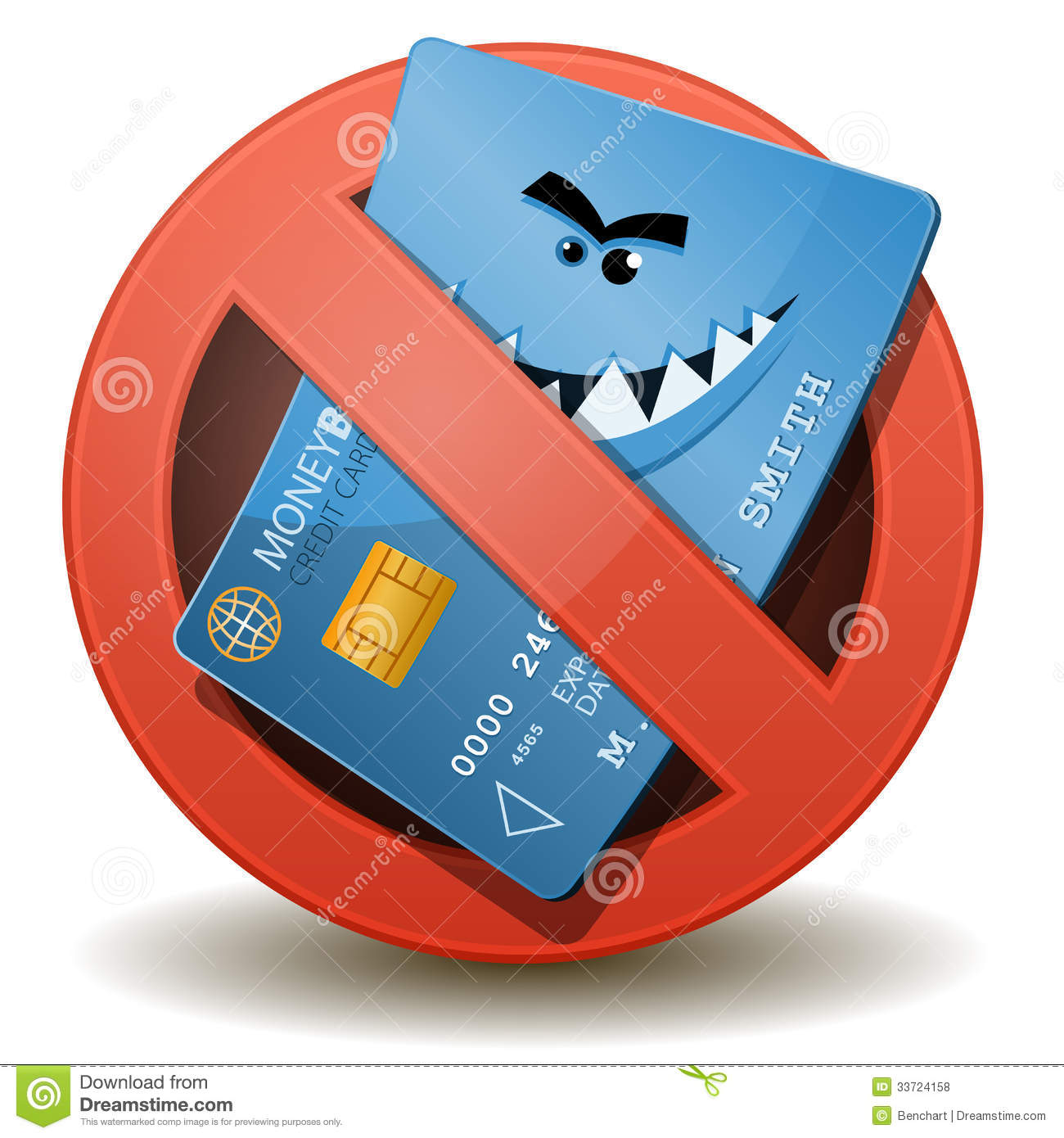 E Card Cartoon Characters : Credit card not allowed stock vector image of smiling