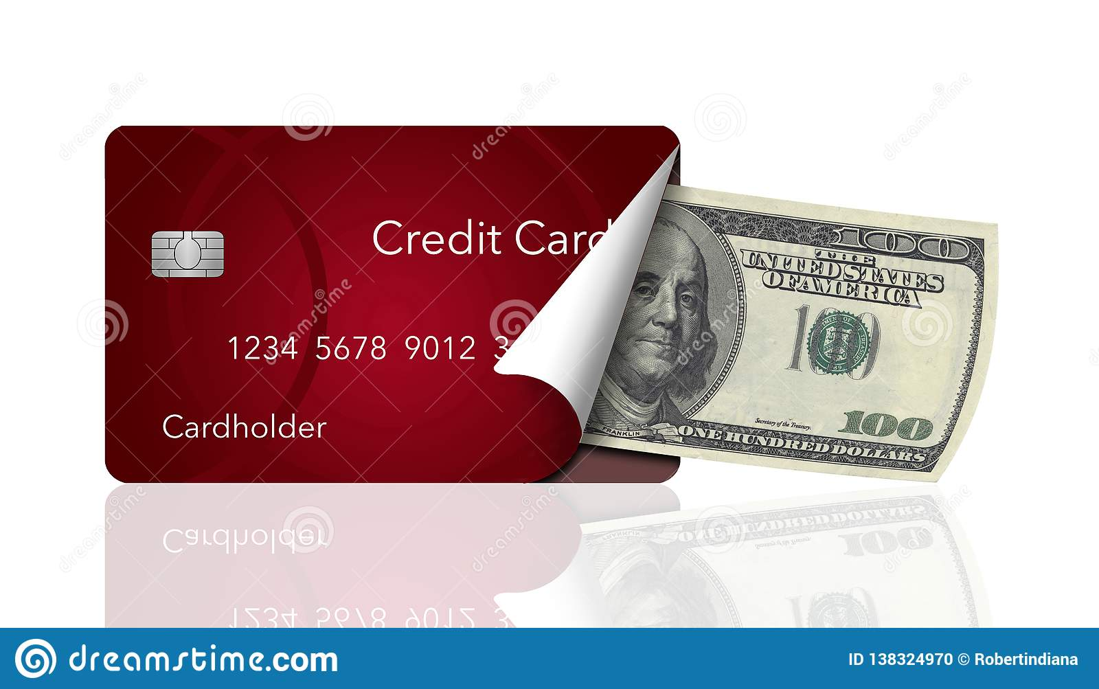 A credit card is peeled back to reveal a one hundred dollar bill inside. This illustrates carrying a card instead of cash or any