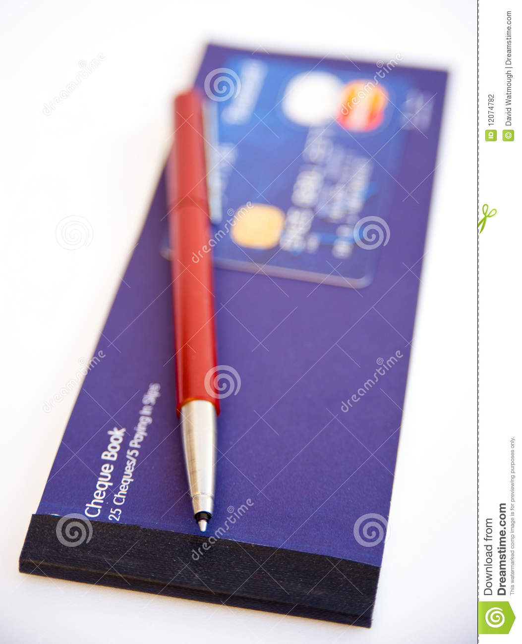 Credit card, pen and cheque book.