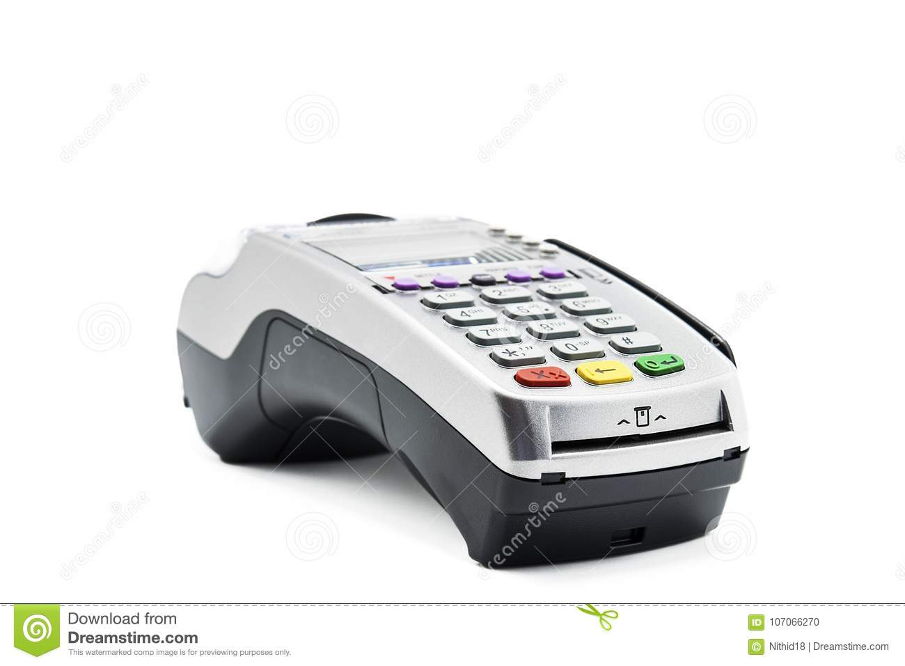 Credit Card Reader Machine On White Background Stock Photo - Image ...
