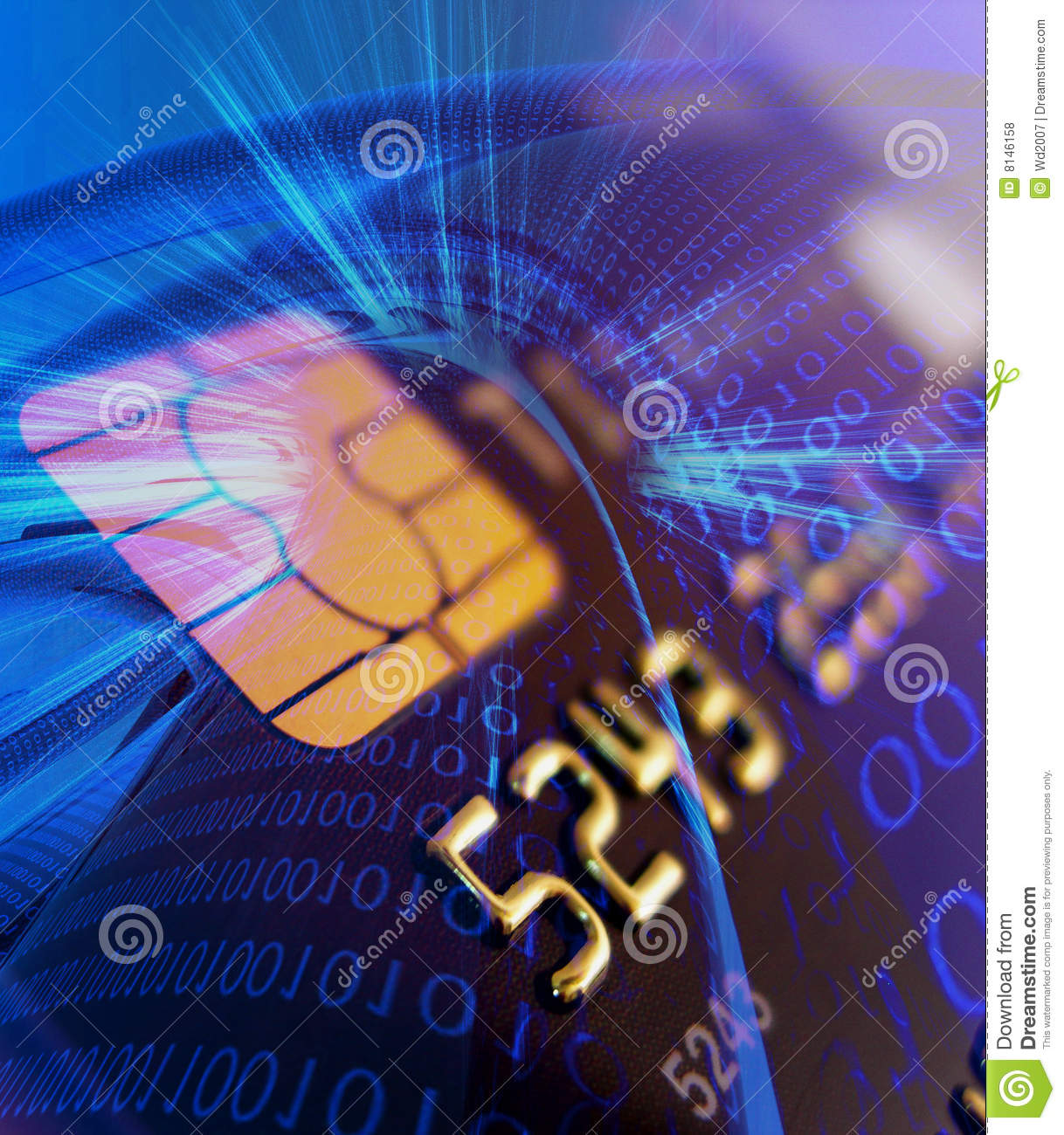 Credit card with secure chip