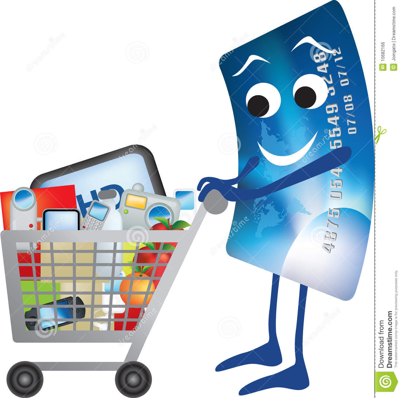 Credit card and shopping trolley cartoon stock vector illustration of cash spend 10682166 - Shopping cash card paying spending ...