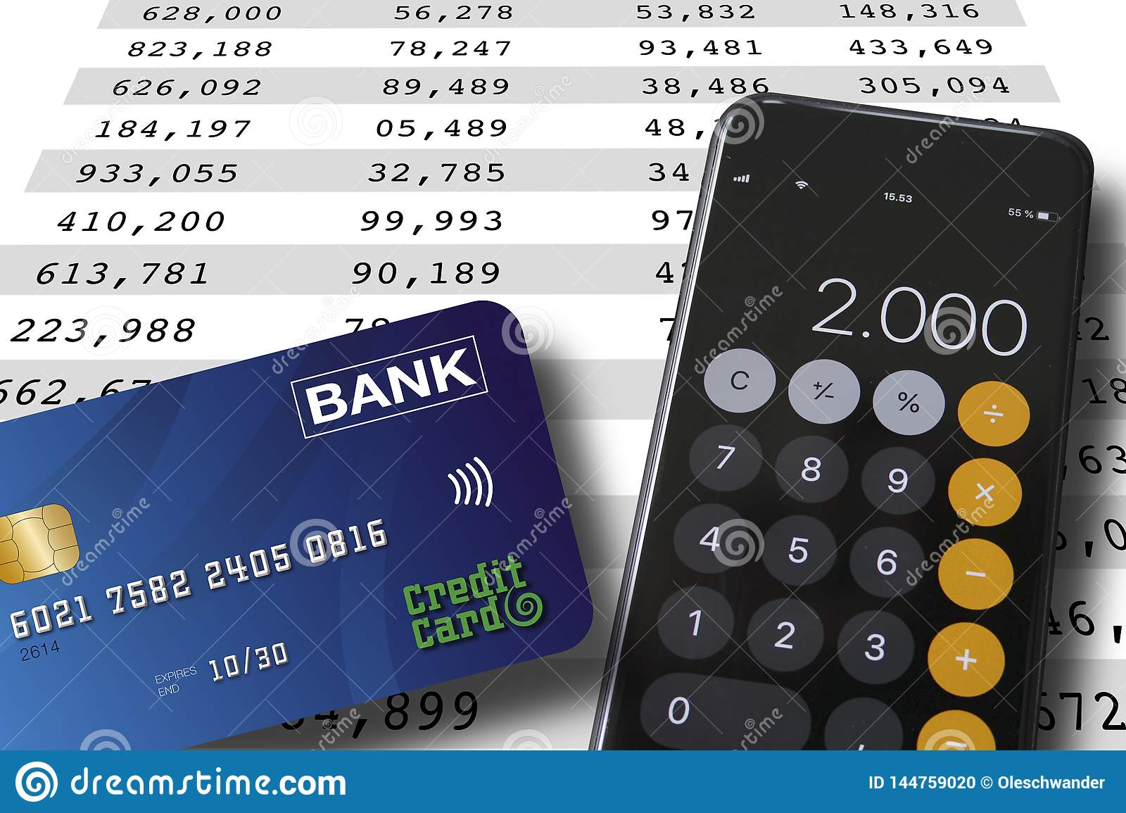 Credit card and smartphone lying on a spreadsheet background with numbers in colums. Accounting or banking concept