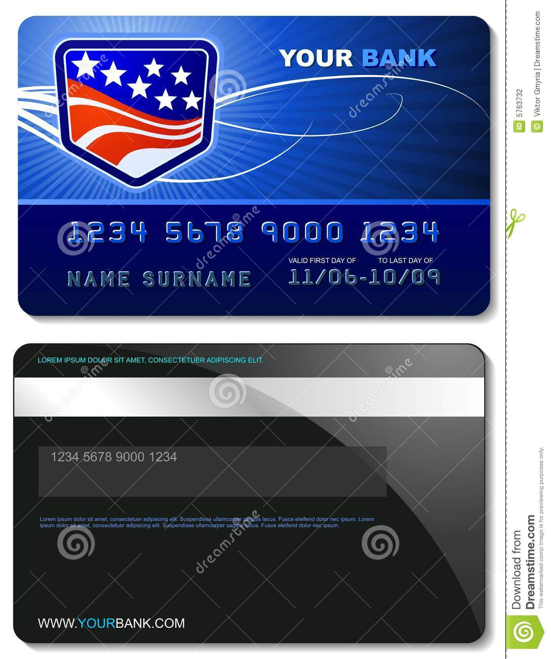 Credit Card Template Stock Photography