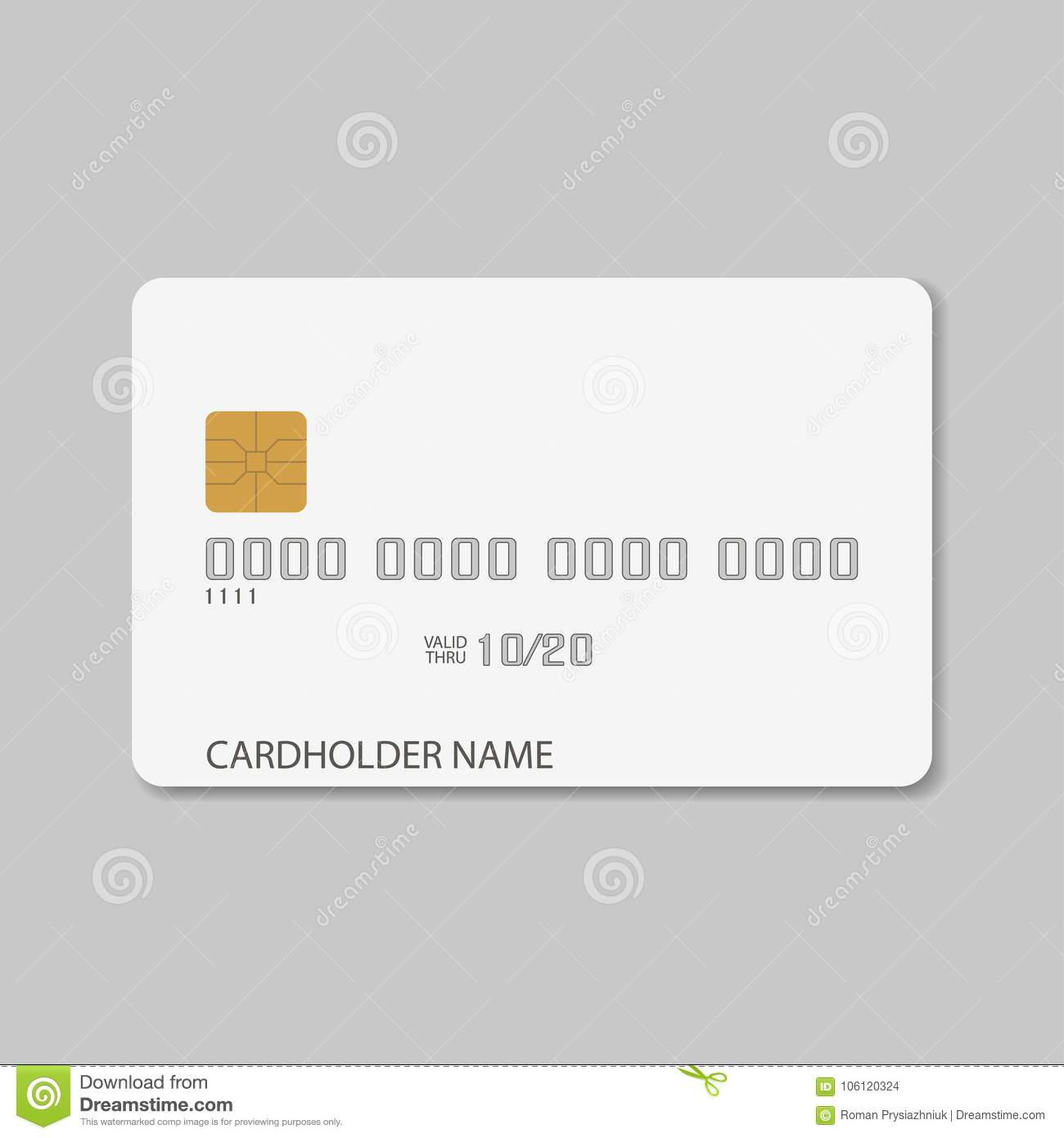 Credit Card Template Blank Realistic Mockup For Plastic