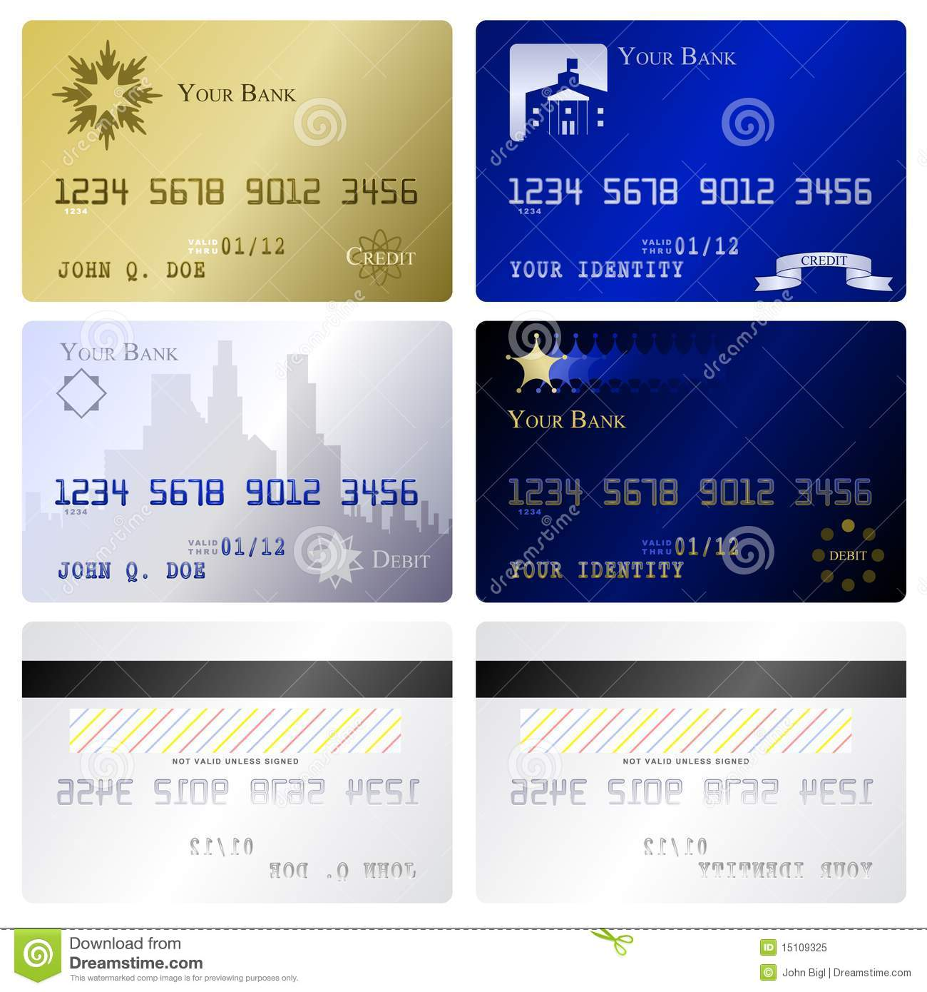 Credit Card Templates Stock Vector. Illustration Of Debit